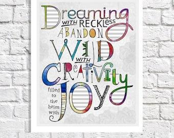 Dream Quote Print Wall Decor Happiness Inspiration Quote Art Office Decor Creativity Quote Poster Joy Sign Typography Print Art Studio Idea