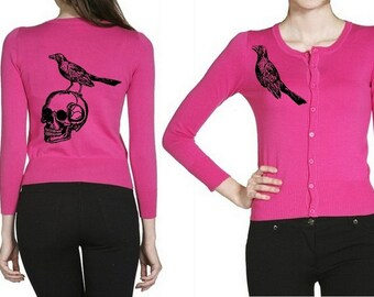 Skull Cardigan Plus Size Sweater Shirts Punk Womens Clothing Skulls Sweatshirt Screen Print Cute Pink Pin Up Skeleton Sweaters Button Up
