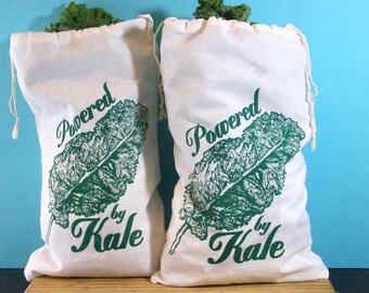 Produce Bags Kale - Vegan/Vegetarian - farmers market bag draw string bags Indie Housewares green gifts