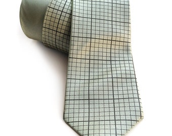 Green graph paper necktie. Engineering grid paper tie. Silkscreened men's tie. Math teacher, engineer gift. More colors available!