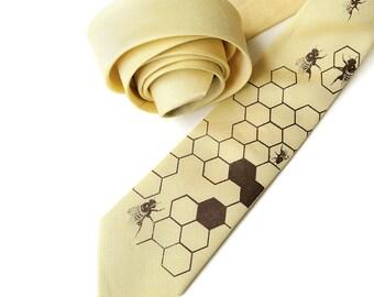 Honey bee linen necktie. Butter yellow silk & linen blend men's tie. Bias cut. Chocolate brown print. Other colors available too!