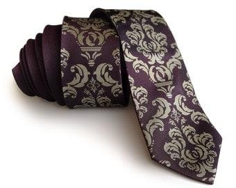 Damask necktie. Aubergine purple shot silk tie, antique brass print. Silkscreened mens tie. 100% silk, modern, narrow cut.