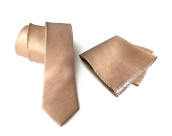 "Pale copper linen necktie. Tan woven silk & linen blend men's tie. ""Vernors"" rustic wedding necktie. Pocket squares available too!"