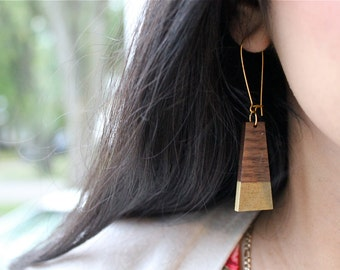 Gold Dipped Walnut Trapezoid Earrings