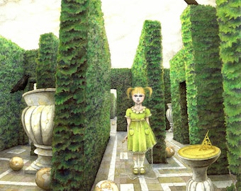 """Mysterious fantasy art print - """"Maze"""" - surreal fantasy of child and crows in a maze, labyrinth. Drawing, illustration by Nancy Farmer"""
