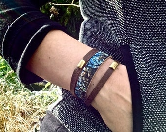 NEW Layered Leather Bracelet & Brass Beads, Tree Tangle Digital Photo Print on 100% Genuine Leather, Stacking Cuff
