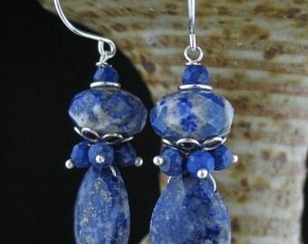 Blue Lapis Lazuli Cluster Stone Earrings, Lapis Lazuli Jewelry, Blue Cluster Earrings, Blue Stone Cluster Jewelry, Wired Cluster Earrings