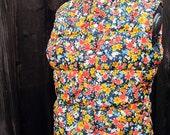 Skyr Vintage 1980s Floral Print Quilted Vest. Size Medium