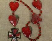 Anglican Prayer Beads--Big Red Hearts