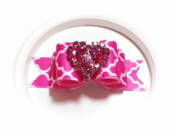 Pink Dog Bow, Girl Pet Bow, Show Dog Bow, Crystal Heart, Rhinestone Heart, Show Dog Bow
