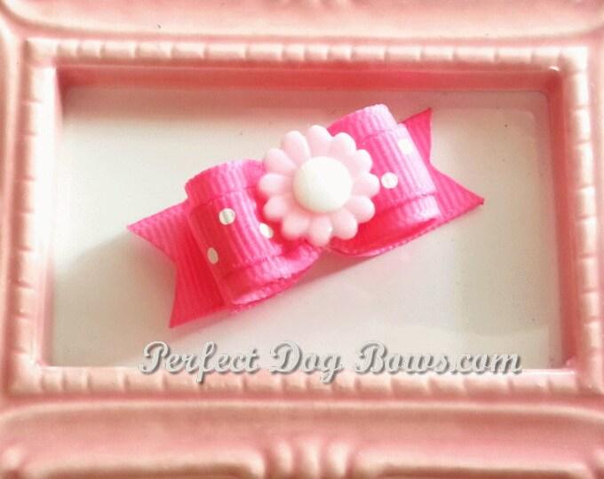 Daisy Dog Bow,  Daisy Flower, Pink Daisy Flower, Dog Bow for Girls