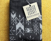 Screen Printed Jersey Scarf in Charcoal Heather - Wyrd Arrows