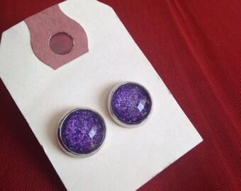 Purple Shimmer Glass Post Stud Earrings - purple shimmer - glass stud earrings - Purple Haze - medium -