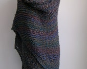 Extra Large Custom Made Hand Knit Triangle Shawl Wrap, Soft Textured Acrylic, Vegan, FREE SHIPPING