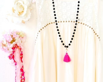 Fuchsia Tassel Black Strand Statement Necklace