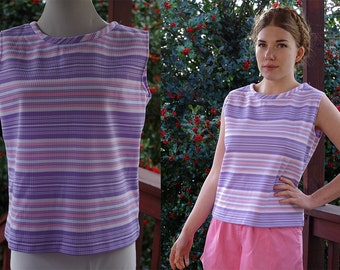 Pastel STRIPES 1960's 70's Vintage Purple Pink + White Striped Sleeveless Blouse // size Medium