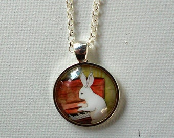 Bunny Playing Piano -  Round  Rabbit Pendant