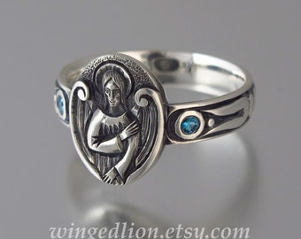 ANGEL'S SEAL Silver Signet Ring with London Topaz accents