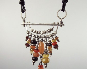 Forged Sterling Pendant with Mixed Gemstone