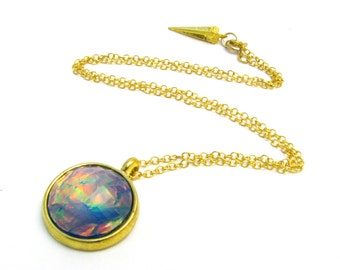 Nebula Sea Lavender Opal Pendant Necklace - Available In Silver Or Gold - Delicate & Simple Galactic Space Jewelry, Great Gift For Her