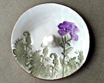 Ceramic  Ring Holder Bowl Purple Flower Off White