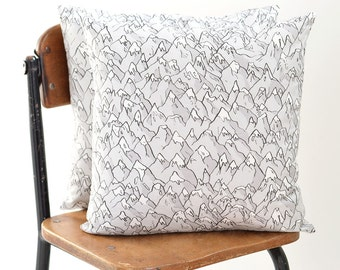 Forever Mountains Linen-Cotton Pillow Cover | Original Fabric | 16 x 16""