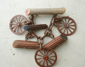 Vintage Art Deco Era Celluloid Western Brooch Dangle Logs Wagon Wheels FREE SHIPPING