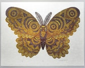 Woodcut Print, Woodblock Print, Moth by Tugboat Printshop