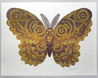 Moth - Woodcut Print, Woodblock Print by Tugboat Printshop