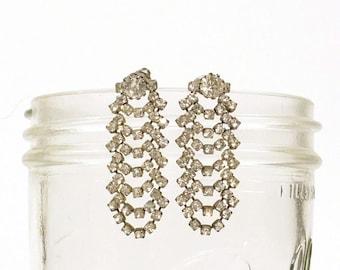 Rhinestone Earrings / Articulating Vintage Dangle Rhinestone Pierced Earrings