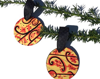 Red, Yellow, and Black Ornaments - 2 Handmade Wood Ornament Set for Christmas tree, mixed media collage, xmas decoration, decor, holiday