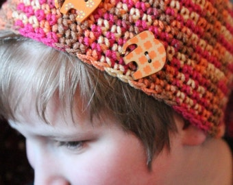 Stripey Hat with Elephant Buttons