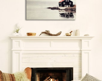 "Iceland Landscape, Minimalist Wall Decor, Modern Home Decor, Red Black, Large Canvas Art ""Ordinary Silence"""