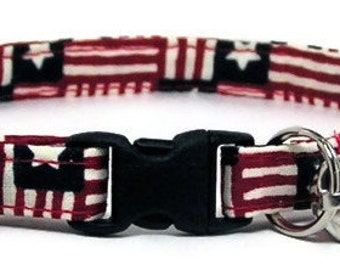 Cat Collar - American Flag - Breakaway Safety Cute Fancy Cat Kitten Collar