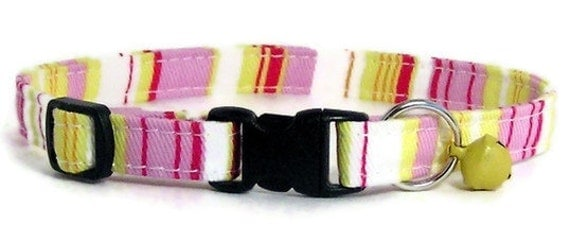 Cat Collar - Fresh Pink and Yellow Stripes (With a silver bell) - Breakaway Safety Cute Fancy Cat Kitten Collar