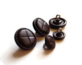 Vintage Button Lot - brown faux leather buttons, matching buttons, shank buttons, vintage button destash lot, vintage sewing destash