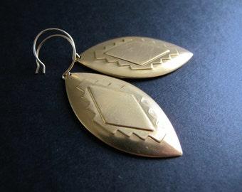 Southwestern Earrings, Embossed Brass Dangles, Geometric Jeweltry