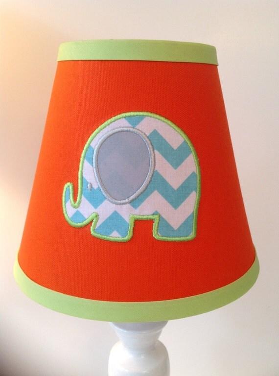Bright Green Lamp Shade : Bright elephant applique lamp shade