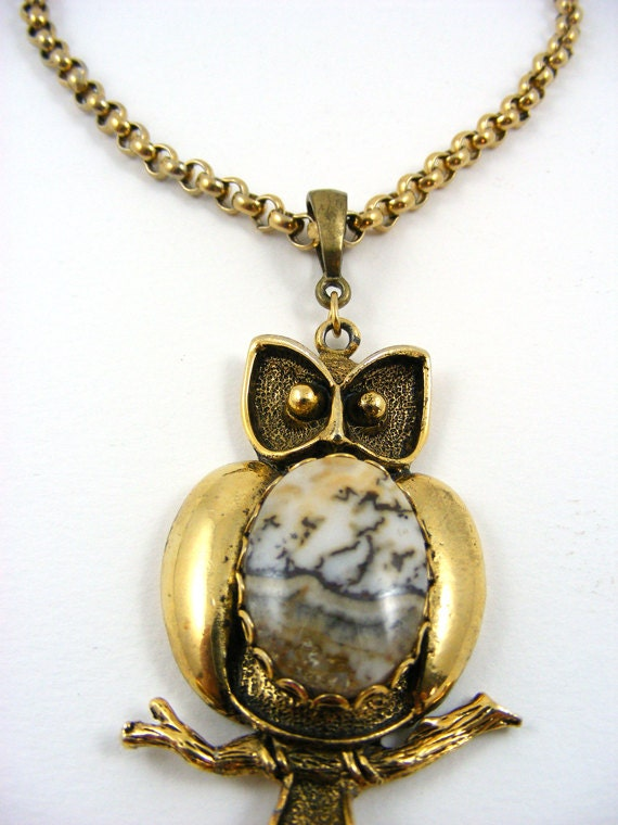 RESERVED for Brittany Gemstone Owl Necklace on Rolo Chain