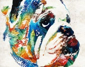 Colorful Bulldog Art PRINT from Painting Dog Pets Dawgs Georgia Bull Kiss Lips Pop Art CANVAS Ready To Hang Large Fun Funny Love Animal