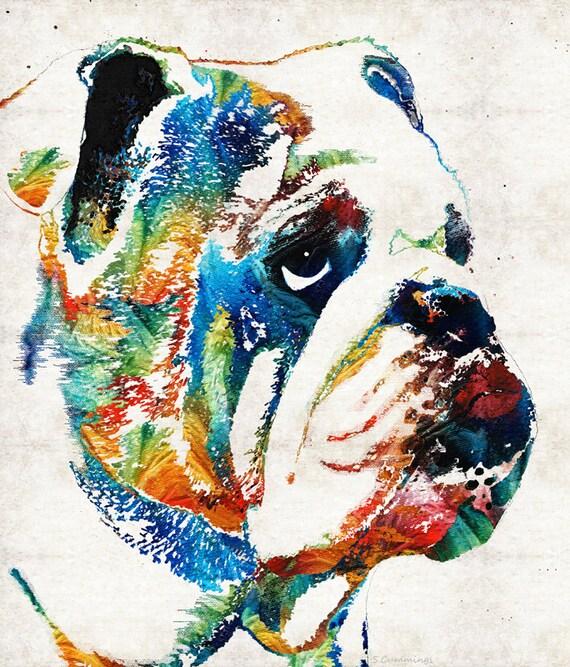 Très Bulldog coloré Art PRINT de peinture chien Pets Dawgs Georgia DX65