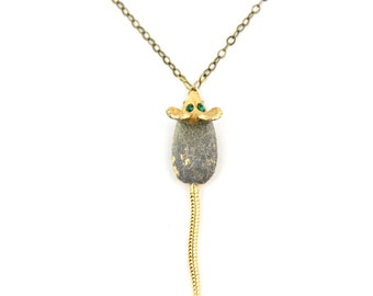 Mousetrap - Vintage Emerald Rhinestone Mouse Pin Necklace