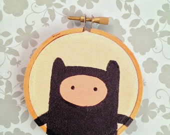 Adventure Time Finn The Human as a Ninja Original Acrylic painting on Embroidery 3inch round Hoop