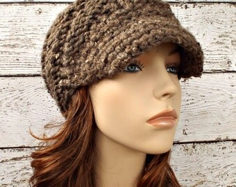 Brown Womens Hat Brown Newsboy Hat - Swirl Beanie with Visor Barley Tweed Taupe Newsboy Hat Knit Hat Brown Hat Womens Accessories Winter Hat