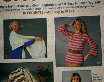Crochet Patterns I Taught Myself to Crochet Boye 7702 Left-Handed Section Vintage Sweater Afghan Shawl Hat Baby Paper Originals NOT a PDF