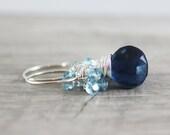Blue Topaz Earrings, Sterling Silver Earrings, Dark Blue Earrings, Light Blue Earrings, Sky Blue Earrings, Topaz Gemstone Earrings, Navy