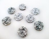 50 12mm resin drusy cabochons, silver iridescent round druzy cabs