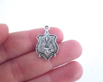 10 silver fleur de lys crest or plaque charms pendants, G42