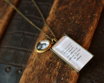 Sylvia Plath Necklace, The silence depressed me, It was my own silence, Sylvia Plath, Literary Jewelry, Literary Necklace, Literature Charm
