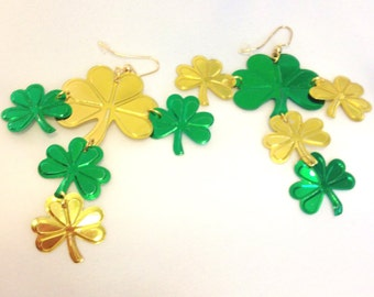 Shamrock Earrings For St Patrick's Day  Luck of the Irish Gold and Green